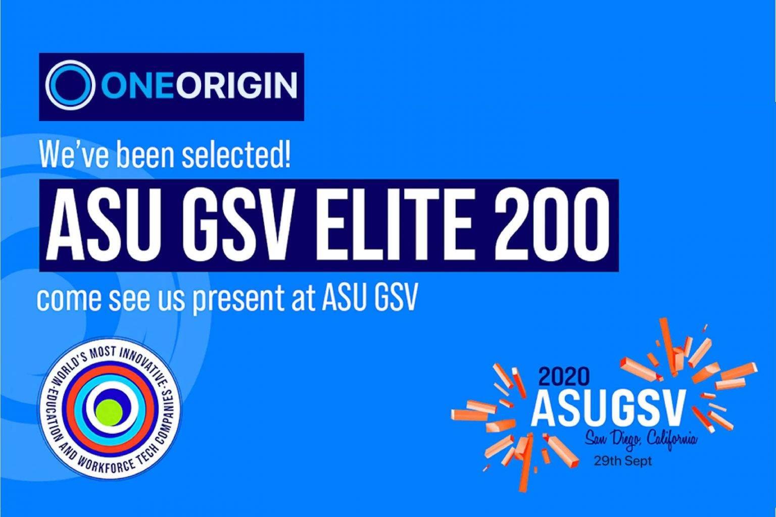 OneOrigin selected by ASU GSV | Elite 200