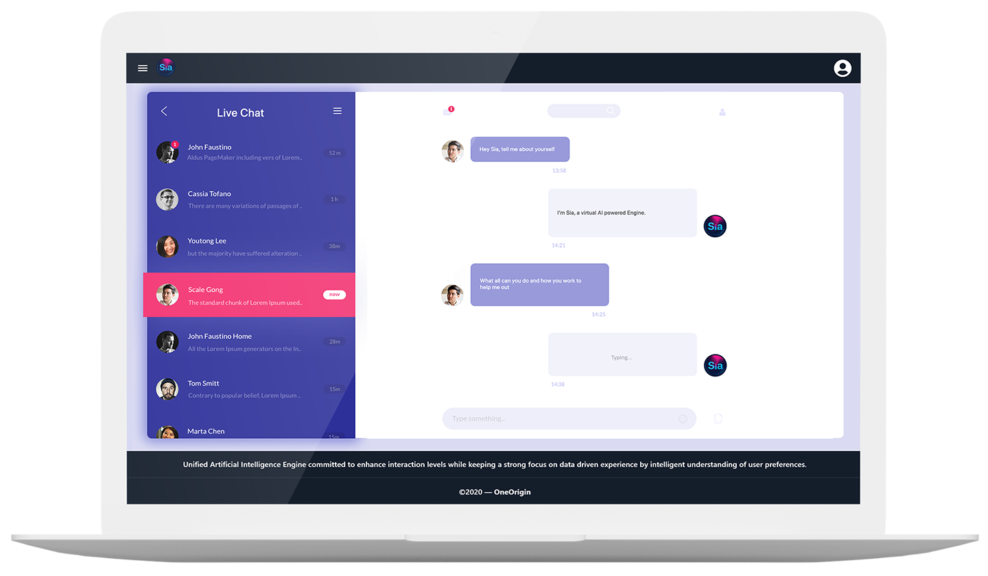 Sia - ai powered live chat